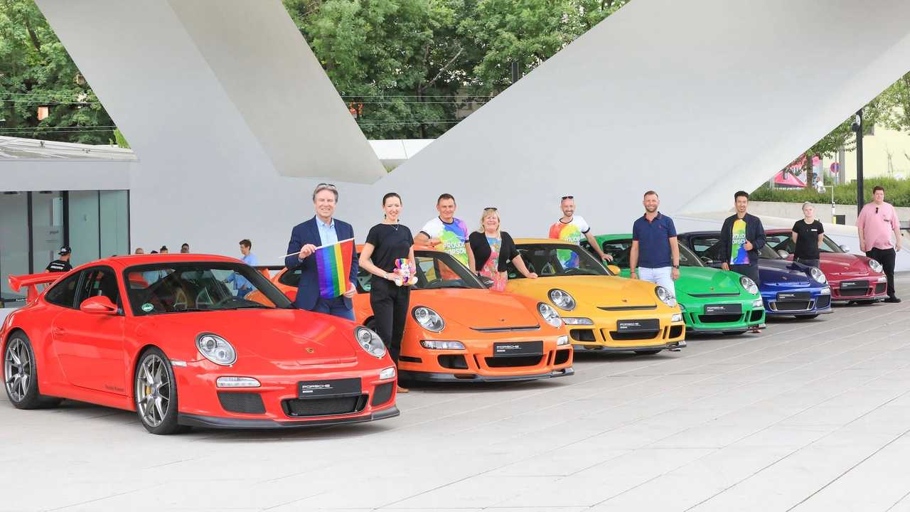 Multi-colored Porsche 911s for gay pride