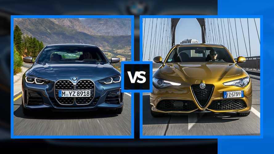 BMW Serie 4 vs Alfa Romeo Giulia - La plaque dans la calandre ou à côté ?