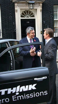 Prime Minister Gordon Brown and Richard Blundell, Managing Director of Think UK, with TH!NK's city EV