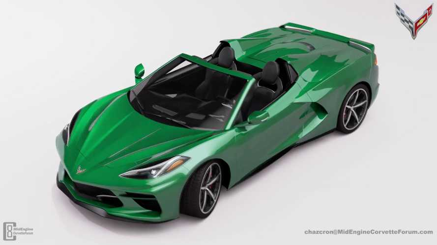Mid-engined Corvette convertible rendered with folding roof