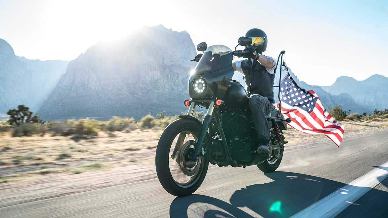 Memorial day motorcycle with flag