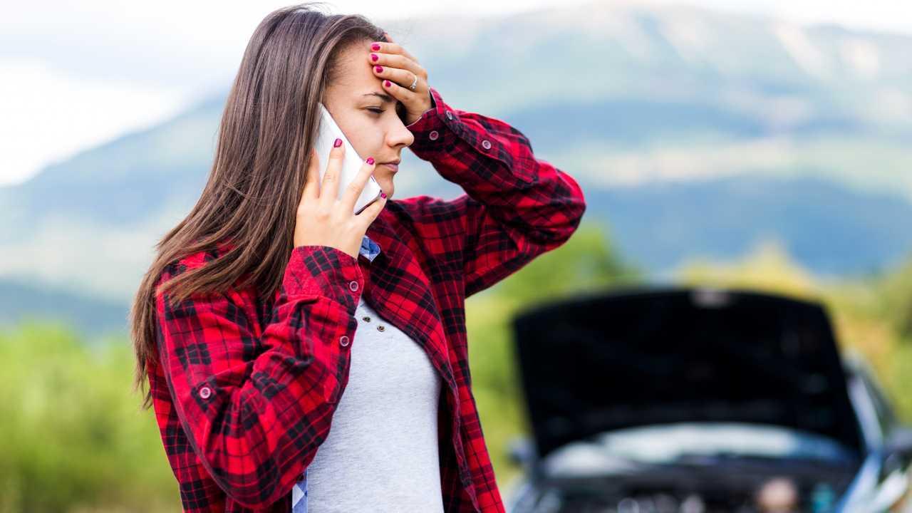 Woman worried calling for car breakdown help