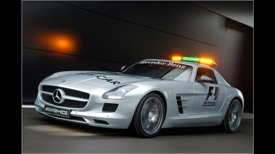 Ein Mercedes SLS AMG sorgt für Sicherheit in der Formel 1