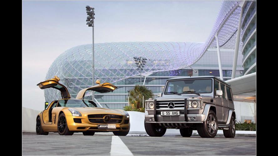 Mercedes SLS AMG im Goldlack und G-Klasse-Sondermodell