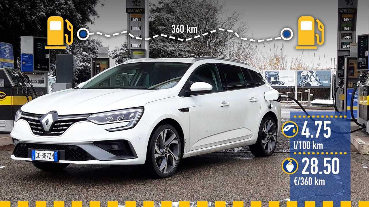Renault Megane Sporter ibrida plug-in, la prova consumi