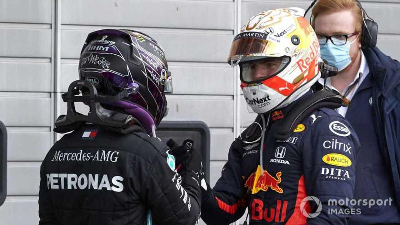 Max Verstappen congratulates Lewis Hamilton at Eifel GP 2020