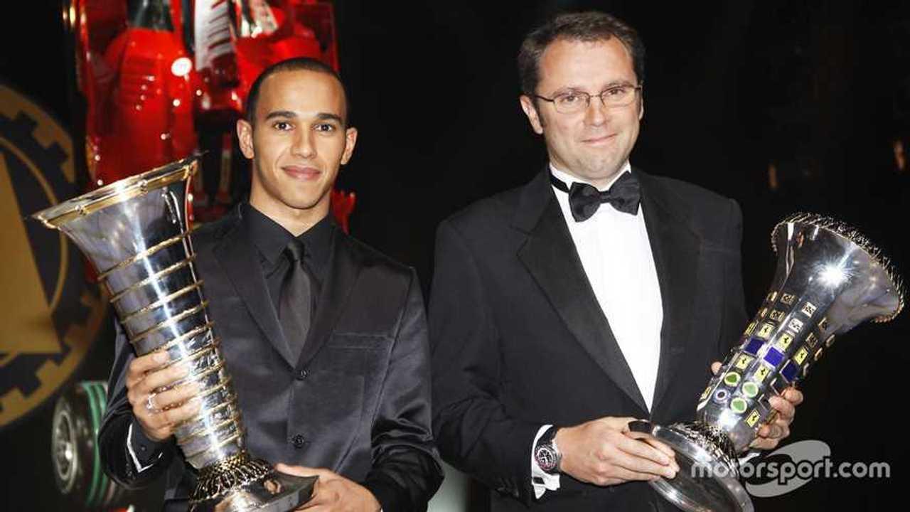 Lewis Hamilton and Stefano Domenicali at 2008 FIA Gala prize giving ceremony in Monaco