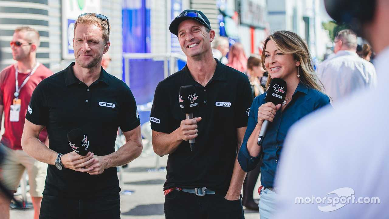 Suzi Perry, Colin Edwards, Neil Hodgson, BT Sport at British GP 2017