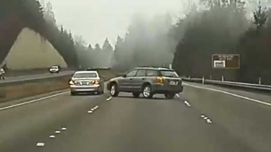 TeslaCam Captures Subaru Versus Lexus In Road Rage, Brake Check, Crash