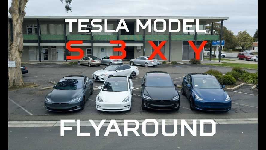 Tesla Model S 3 X Y Lineup Side-By-Side In Fly-Around Video
