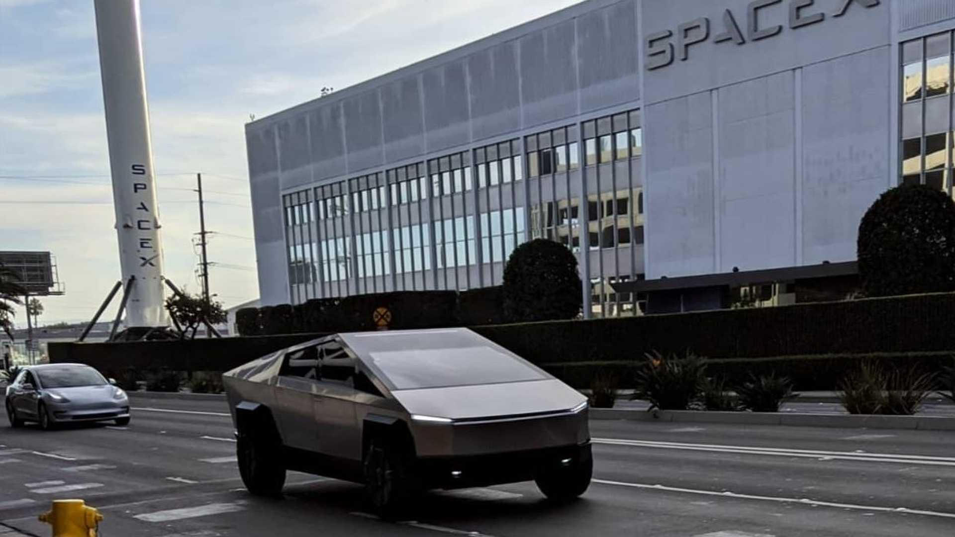 Jay Leno, Elon Musk spotted in Tesla Cybertruck near SpaceX HQ