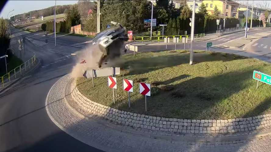 Watch Suzuki Swift go airborne after hitting roundabout