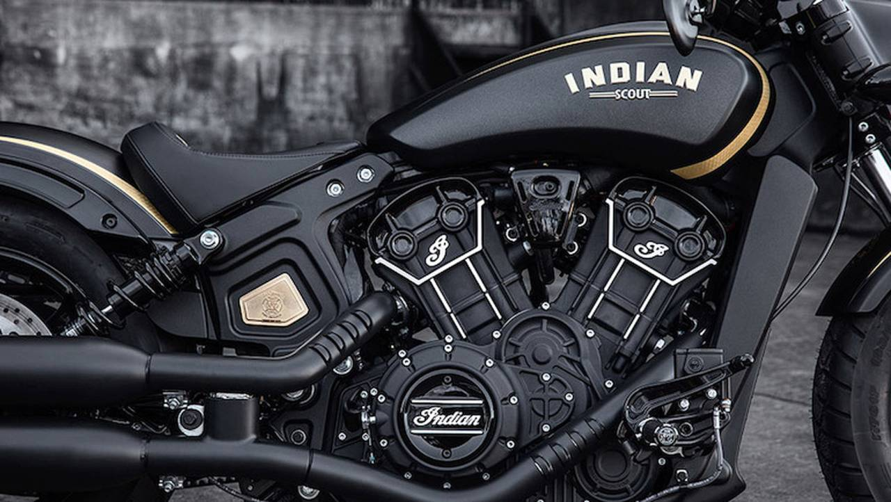 A closer look at details on the 2018 Jack Daniel's Scout Bobber.