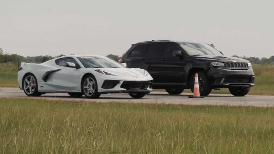 Hennessey Drag Races Modded Corvette C8 Against Tuned Jeep Trackhawk