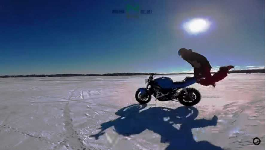 Motorcycle Stunting On Frozen Lake Gone Wrong