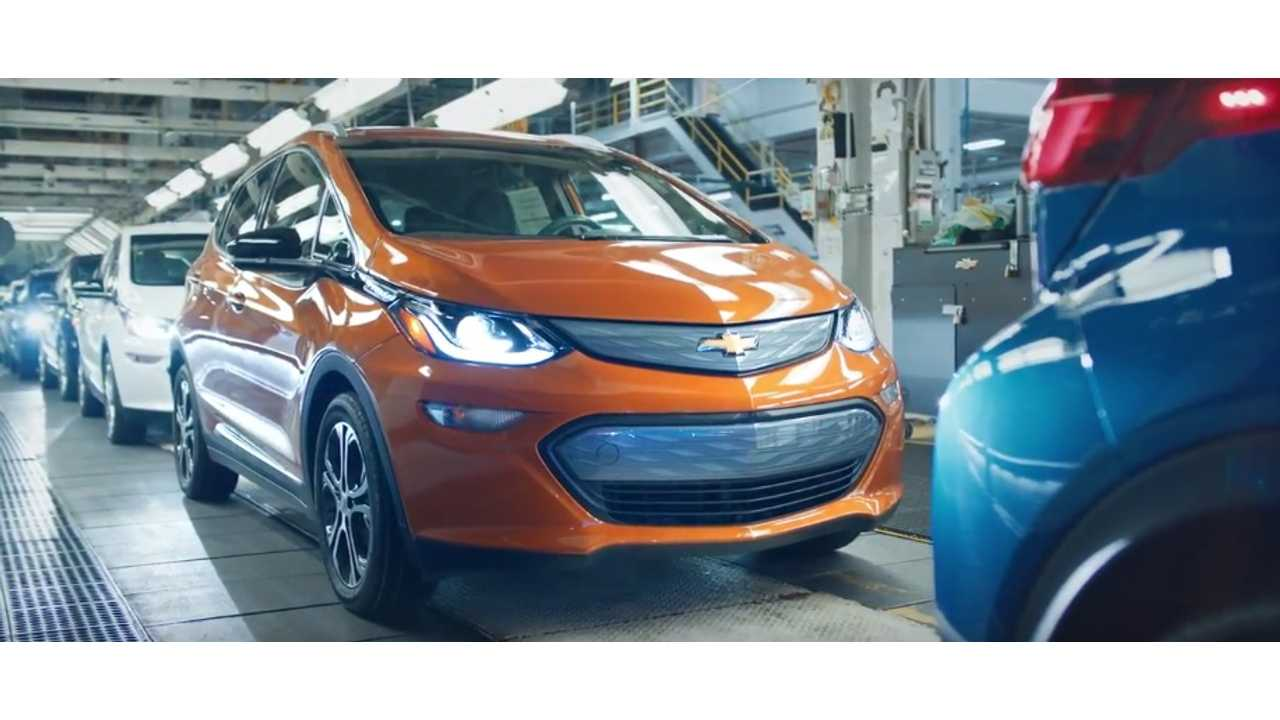 One of the first production Chevrolet Bolt EV's roll off GM's Orion, Michigan assembly line