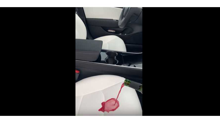 Red Wine Versus Tesla Model 3 White Seats: Video