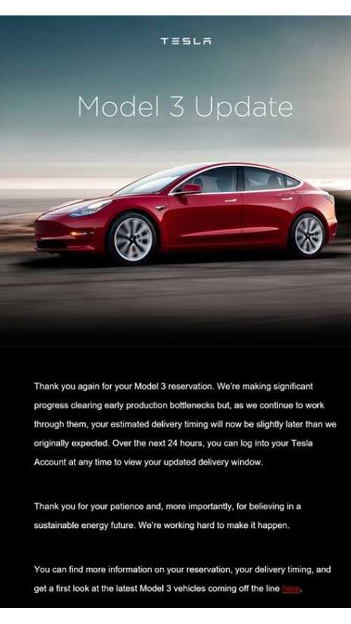 Tesla Delays Model 3 Deliveries