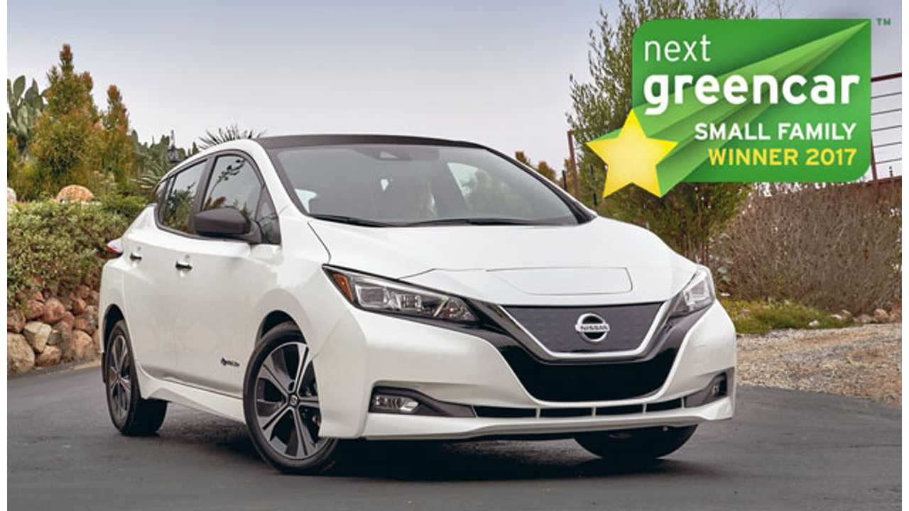 New Nissan LEAF Named Best Small Family Car