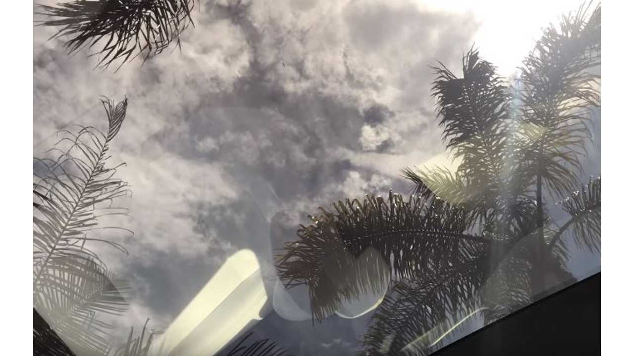 4K Video Looking Through All Glass Roof Of Tesla Model S