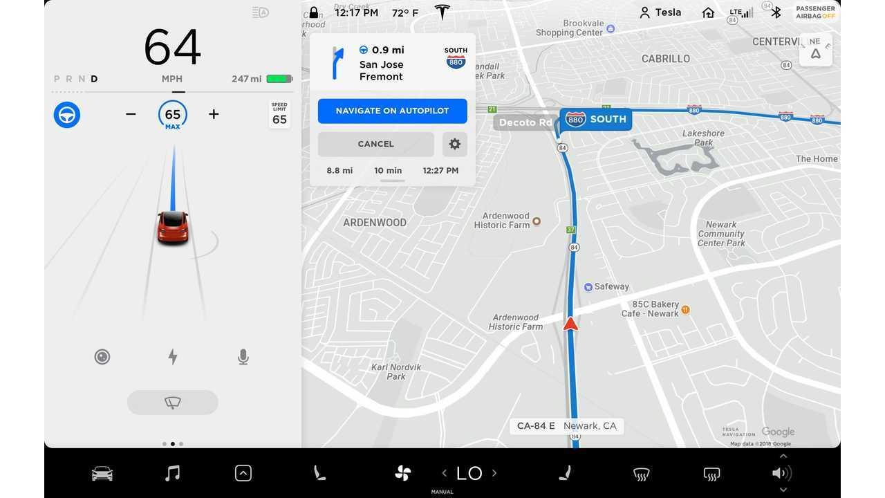 Tesla - Navigate on Autopilot - Model 3 UI - Nav on AP on UI