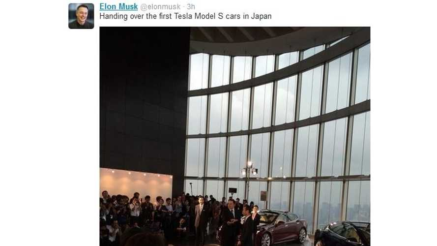 Tesla CEO Elon Musk Hands Over Keys To First 9 Model S Buyers In Japan