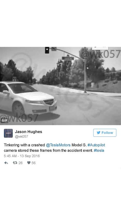 Tesla's Autopilot Camera Captures Pre-Crash Images