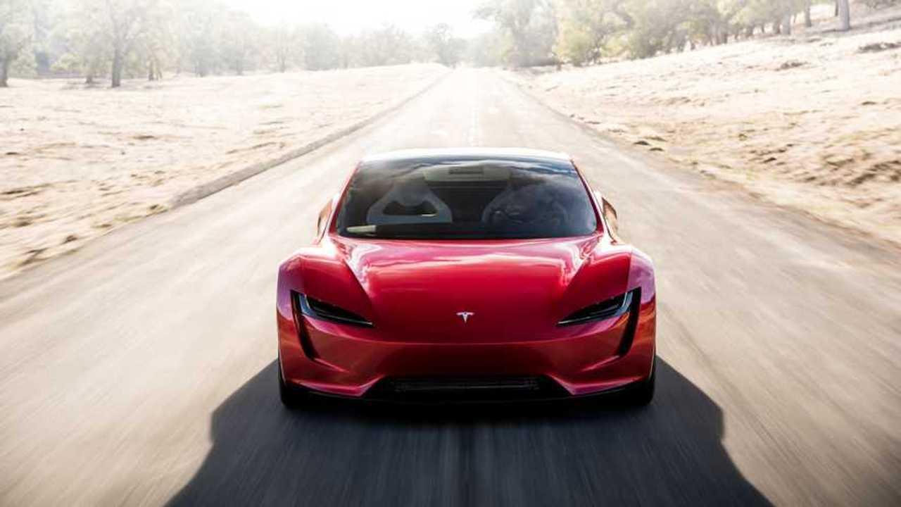 Tesla Roadster driving front 3