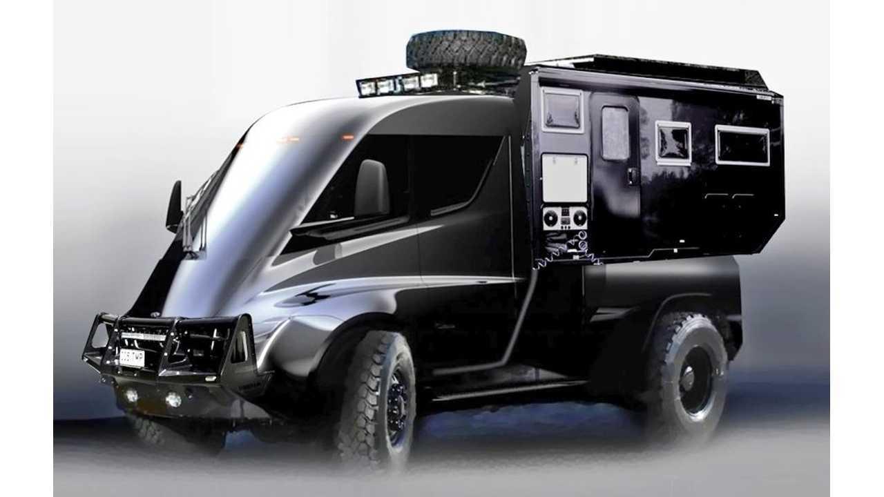 Tesla Pickup Expedition Rendered As Ultimate Off-Road Camper