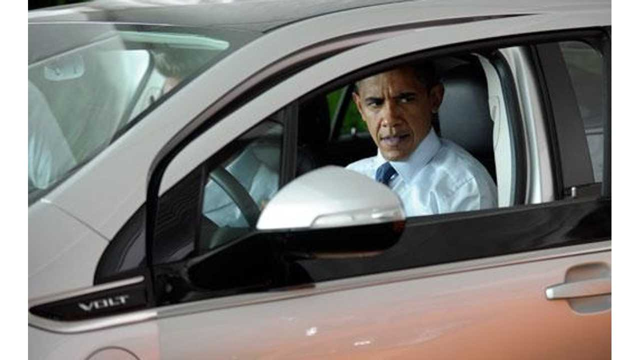 Time To Break Out The Stock Footage Of The President In The Chevy Volt.
