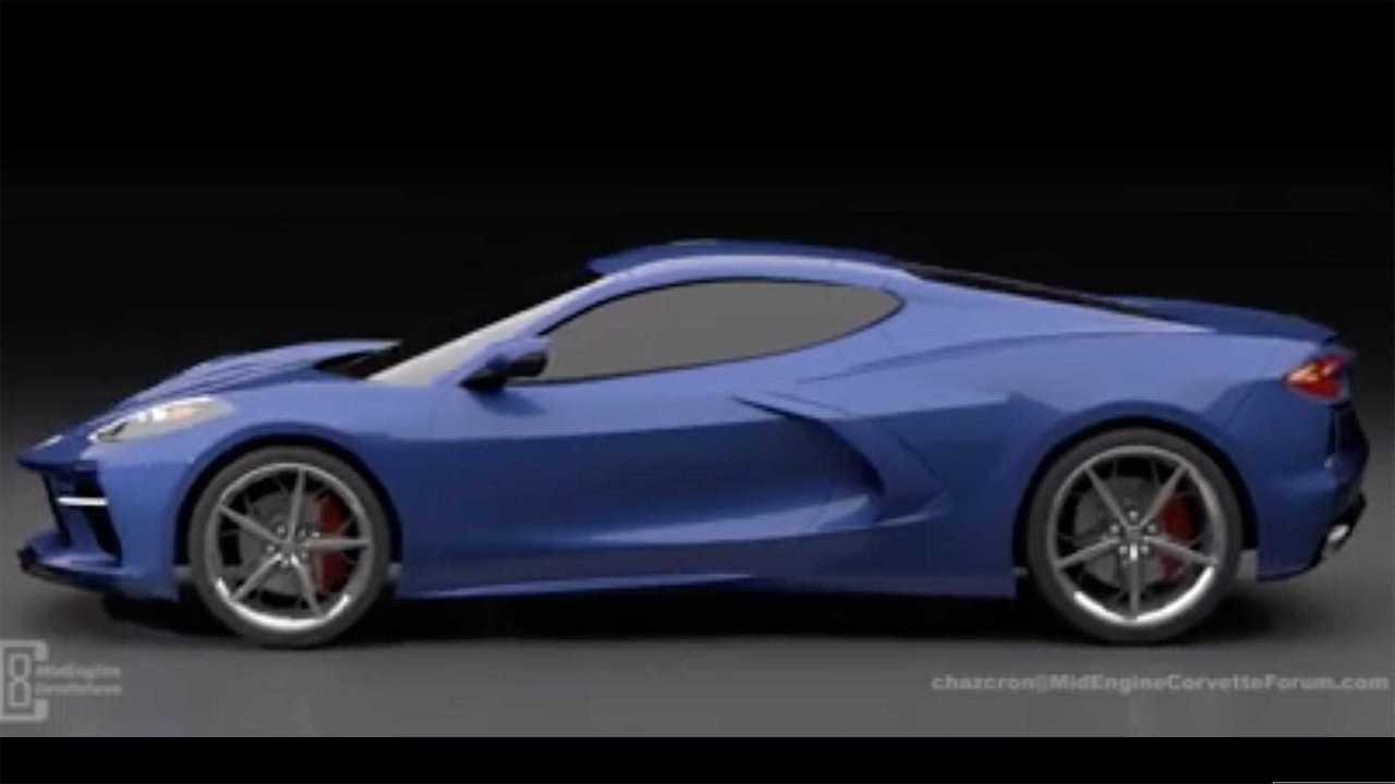 Ortadan motorlu Chevrolet Corvette render