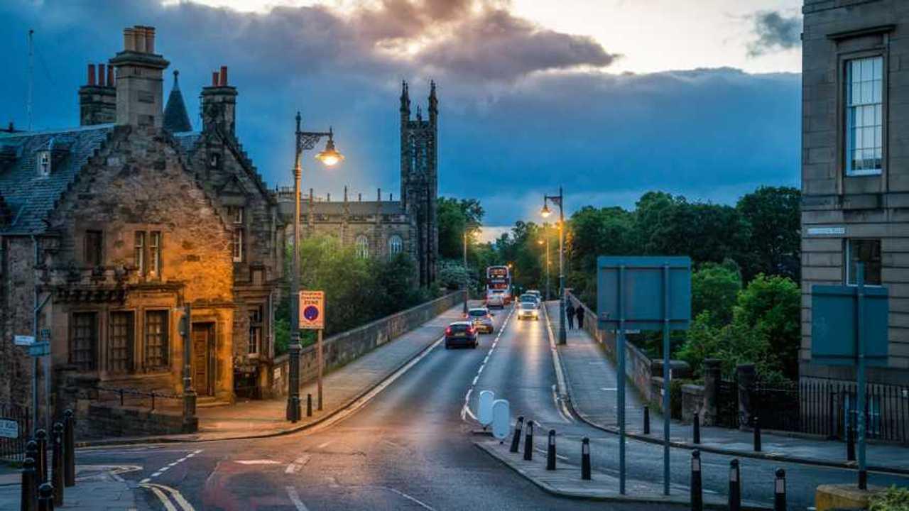 Dean Bridge at dusk in Edinburgh Scotland