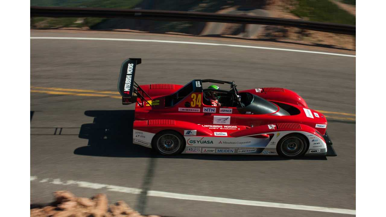 Mitsubishi MiEV Evolution II Dominates Electric Class in 2013 Pikes Peak Hill Climb Qualifying; Only Beaten by a Few ICE Competitors