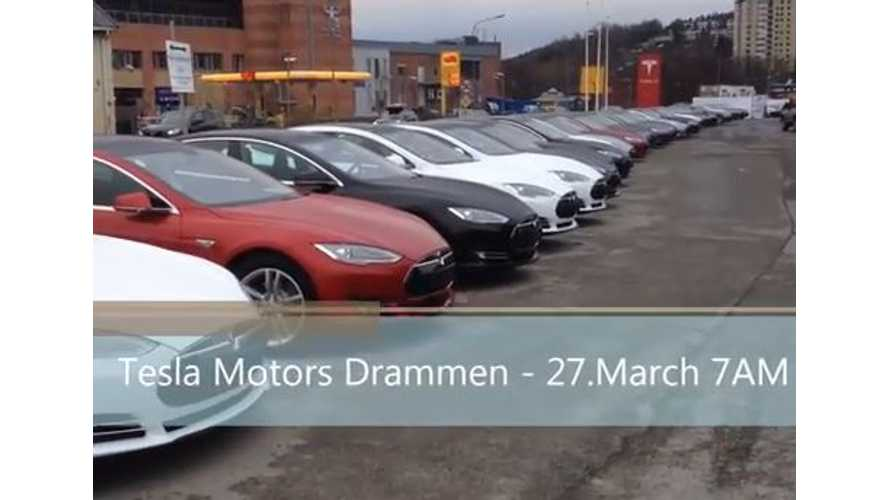 One Day's Worth of Tesla Model S Deliveries in Norway - Video