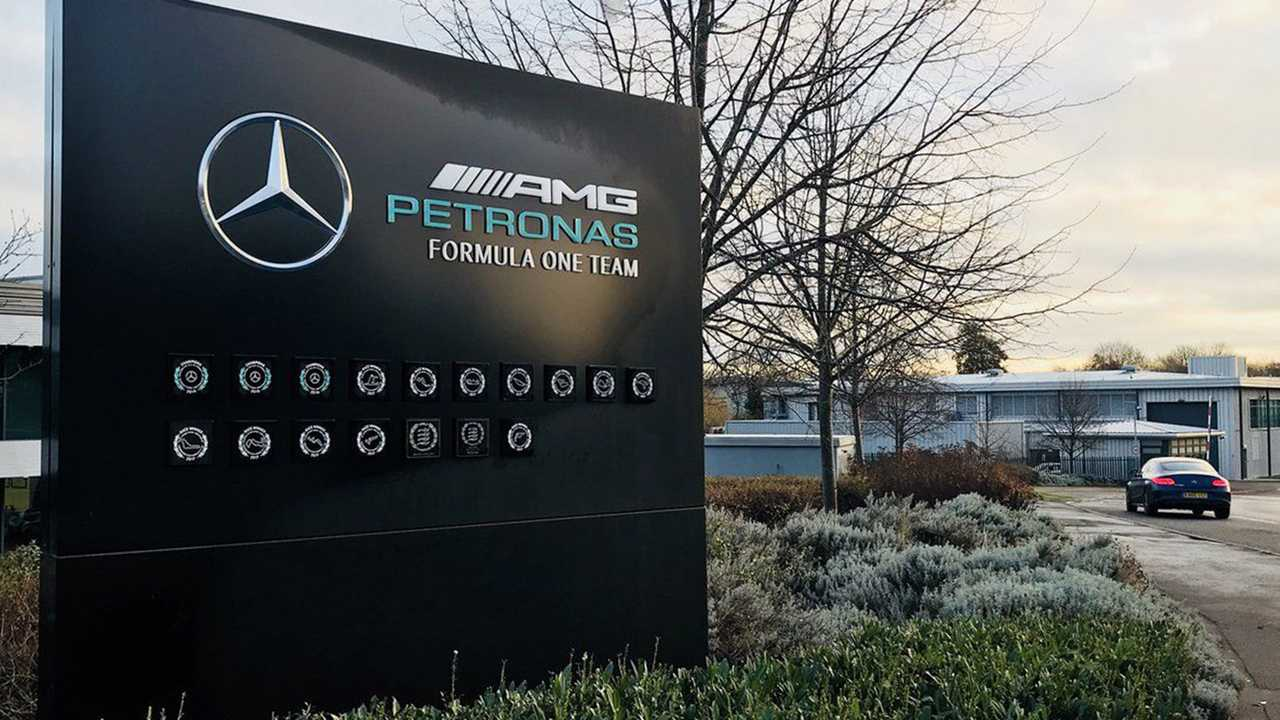 Mercedes AMG F1 Brackley, factory sign at the entrance