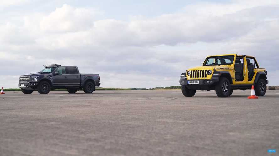 Modded Ford F-150 Raptor Drag Races Stripped-Down Jeep Wrangler