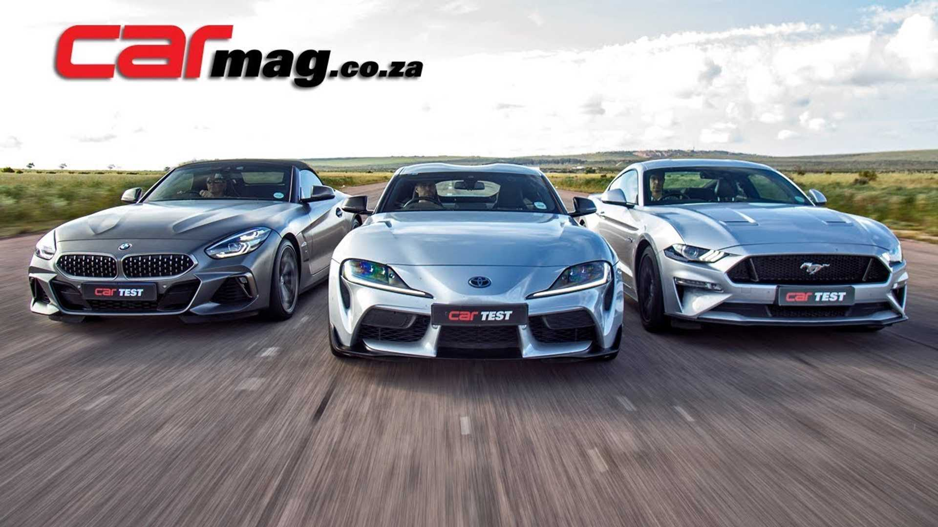 Toyota Supra, BMW Z4, Ford Mustang GT Compete In 3-Way Drag Race