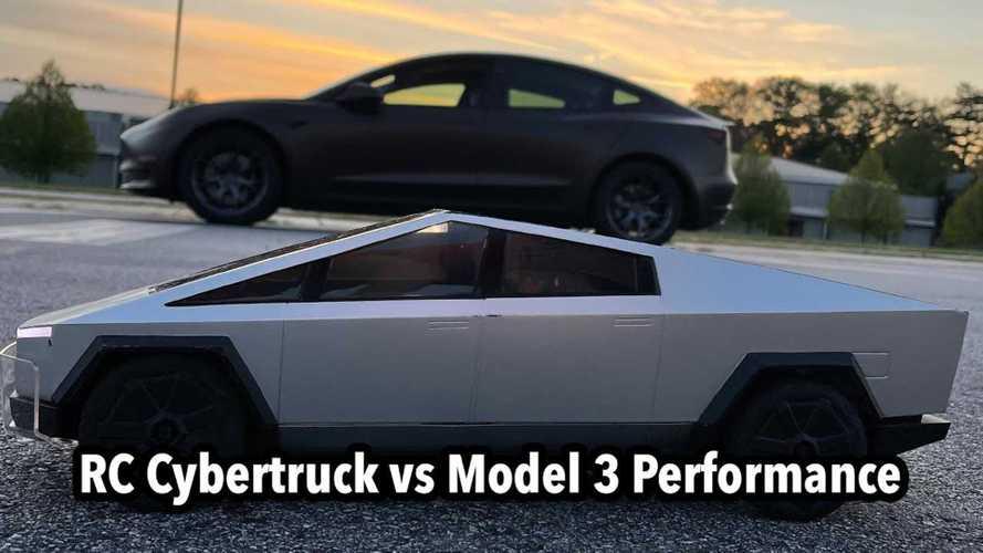 Watch Hot Wheels RC Tesla Cybertruck Race A Model 3 Performance