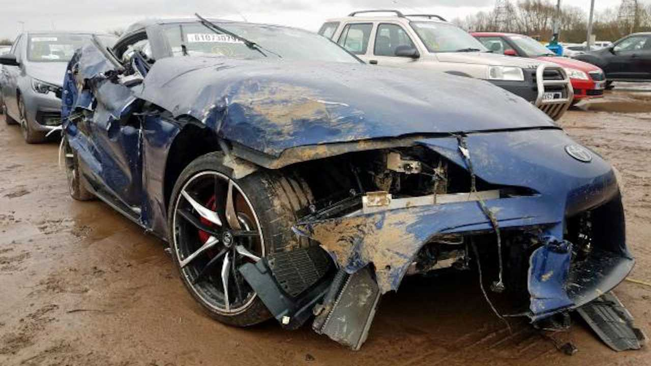 Wrecked Toyota Supra repurposes as a repair training vehicle.