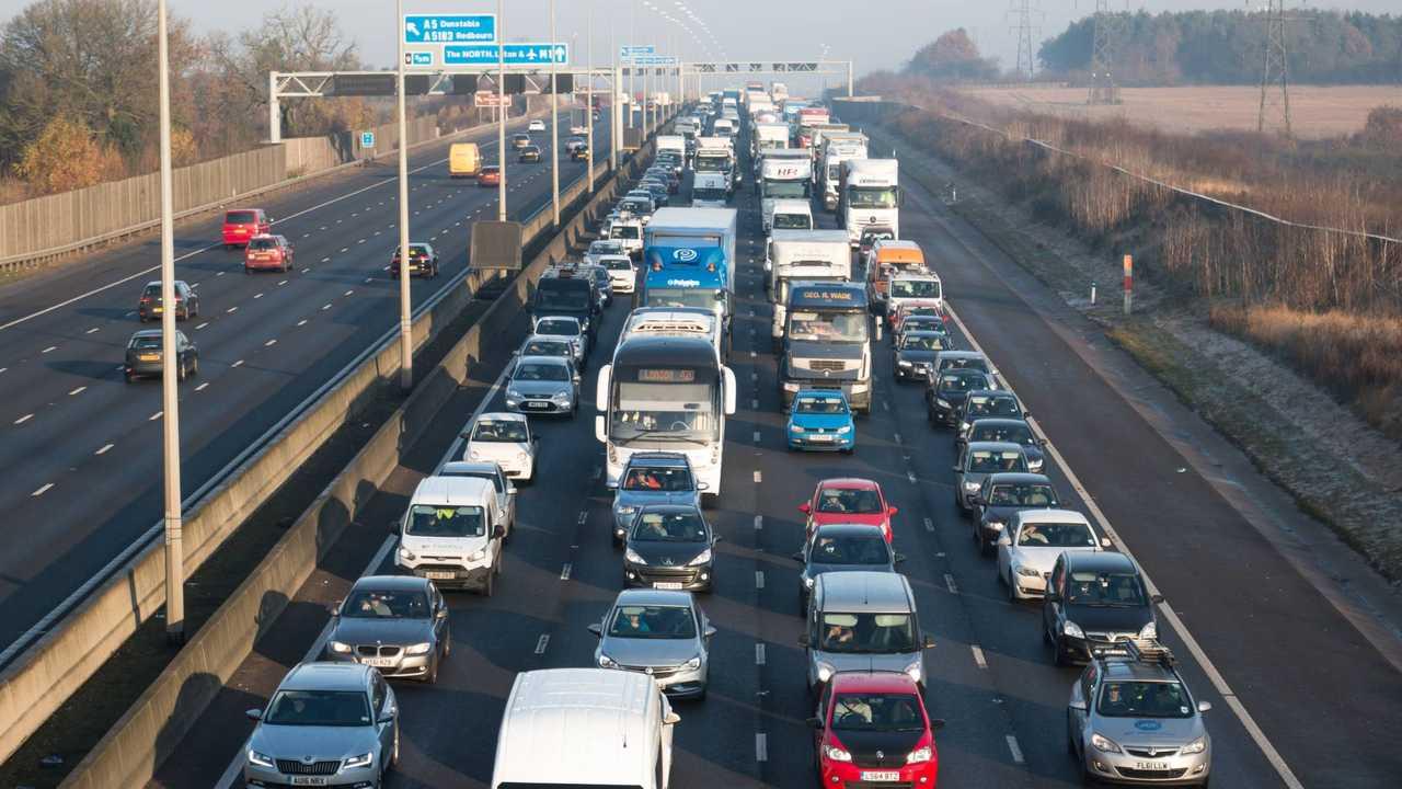 Traffic jam on the British M1 motorway