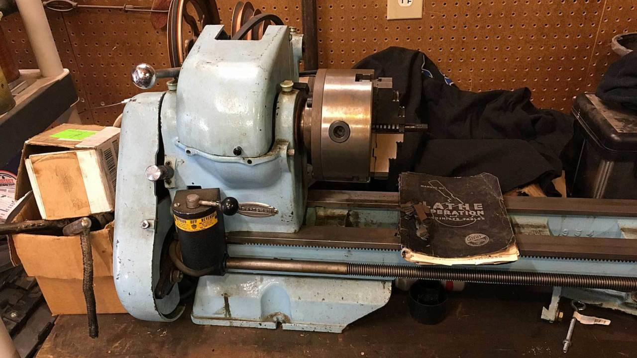 The mighty Atlas lathe. Same color as grandmother's '56 Buick.