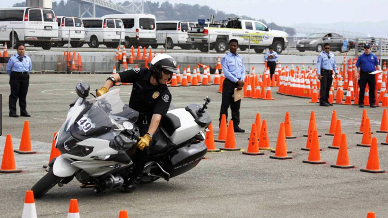 The Police Skills Competition involves things like throwing a heavy police bike through a technical autocross course.