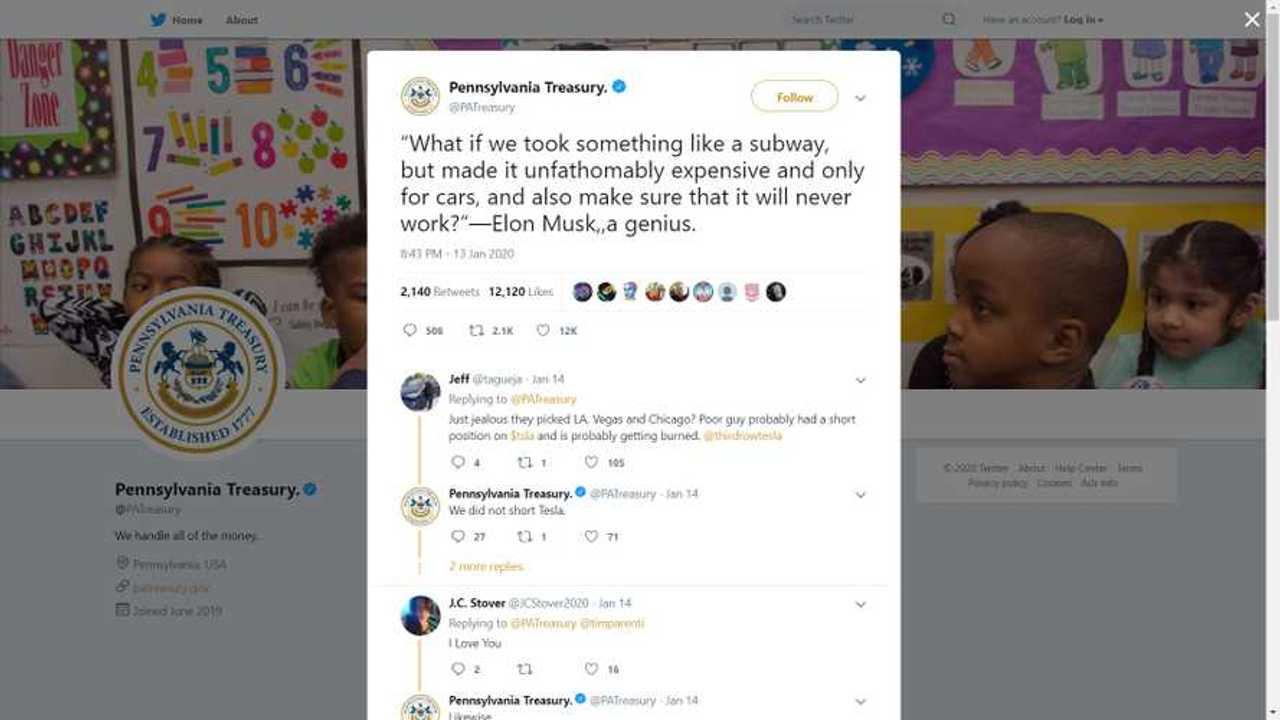 Pennsylvania Treasury Twitter Uses Sarcasm To Call Elon Musk An Idiot