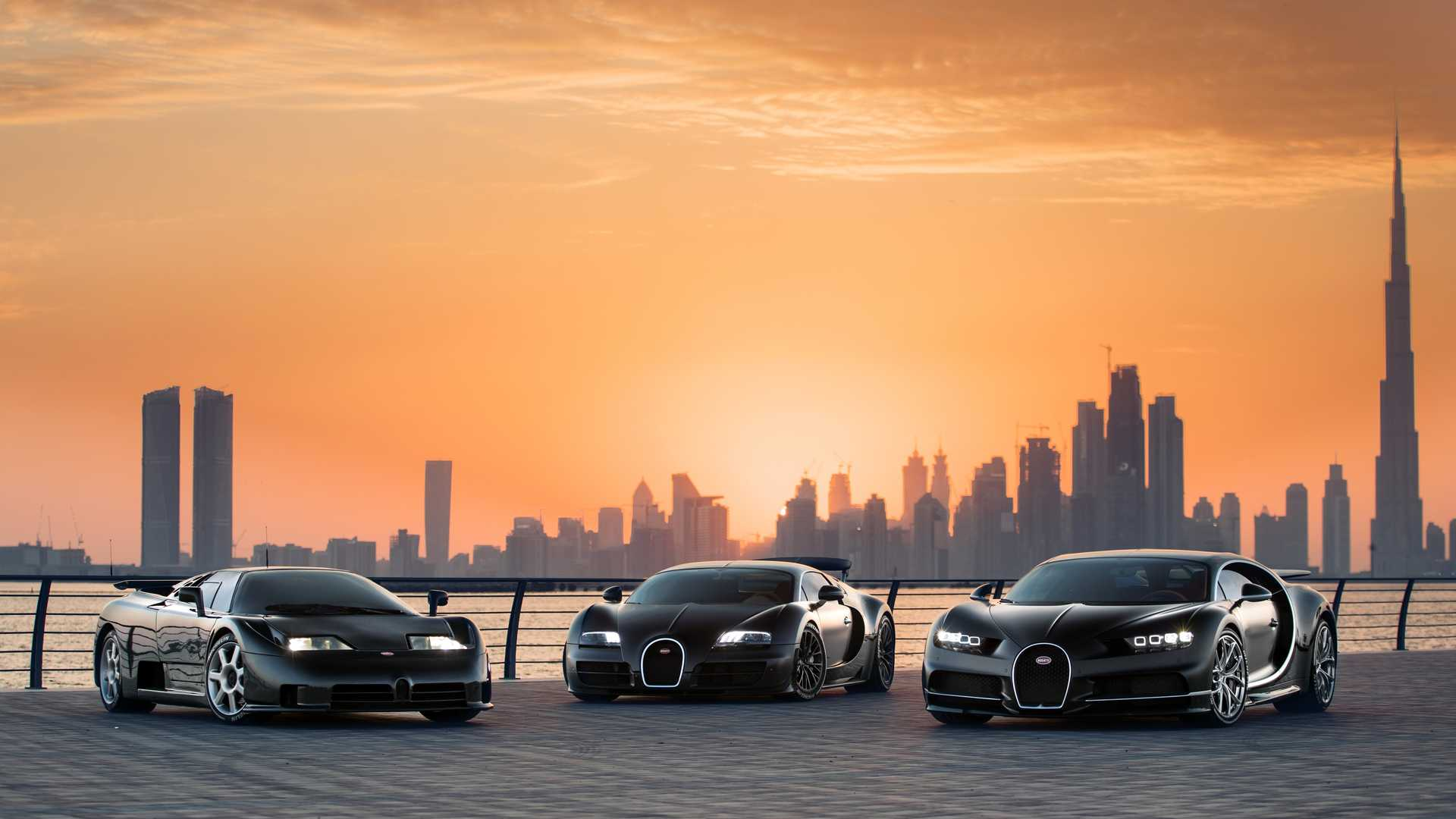 Bugatti Chiron, Veyron, and EB110 In Dubai