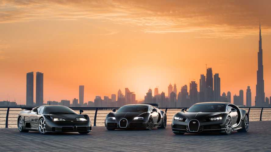 Bugatti Chiron, Veyron, and EB110 Pose In Dubai