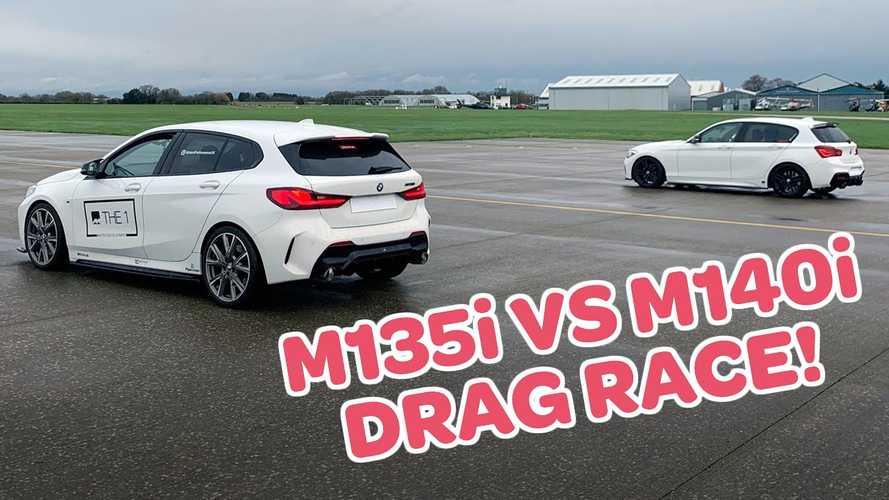 See BMW M135i drag race M140i in damp conditions