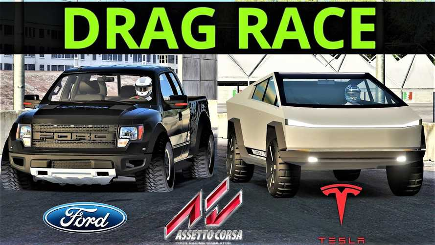 Watch Tesla Cybertruck Race Ford F-150 SVT Raptor Via Assetto Corsa