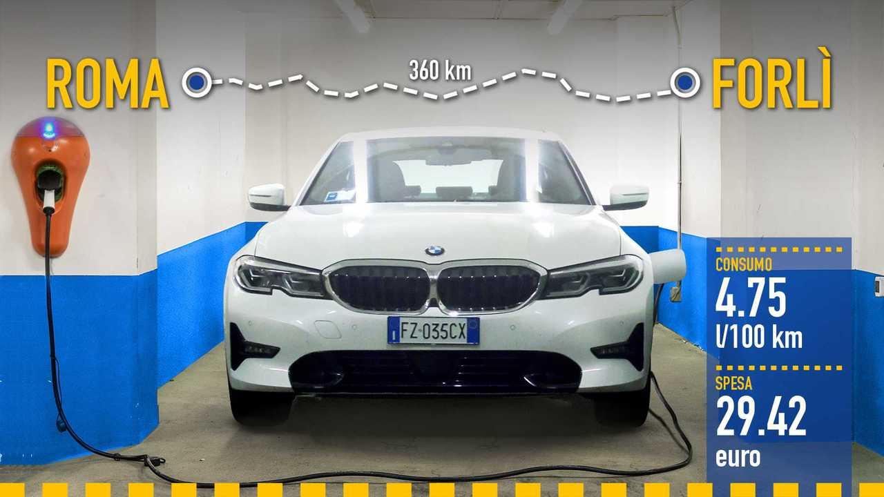 BMW 330e (2020), la prova consumi