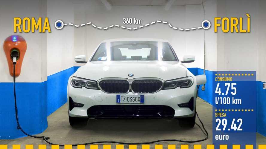 BMW Serie 3 ibrida plug-in, la prova dei consumi reali