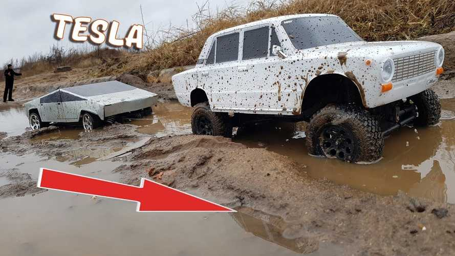 Watch Tiny Tesla Cybertruck Get Stuck And Tugged Out Of The Mud